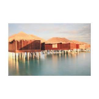 Tropical Maldives Summer Sunrise Beach Bungalow Canvas Print