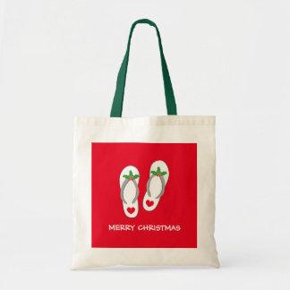 Tropical Merry Christmas beach flip flops tote bag