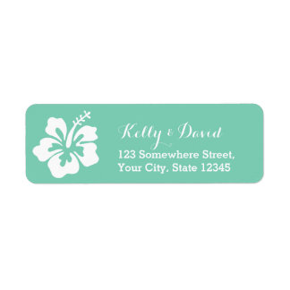 Tropical Mint Green Hibiscus Flower Return Address Return Address Label