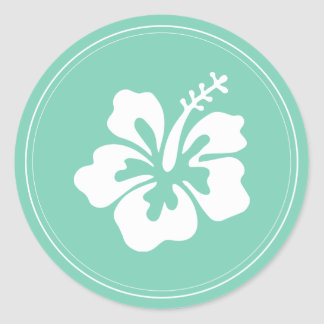Tropical Mint Green Hibiscus Flower Wedding Favor Round Sticker