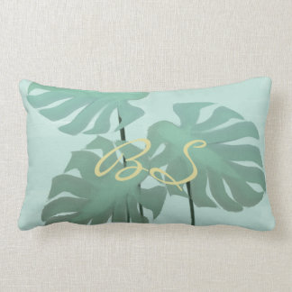 Tropical Mint Monastera Leaves Lumbar Pillow