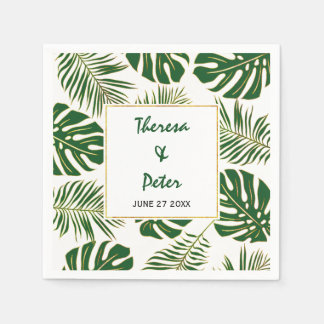 Tropical monstera and palm leaves modern wedding disposable serviette