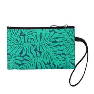 Tropical monstera leaf coin purse