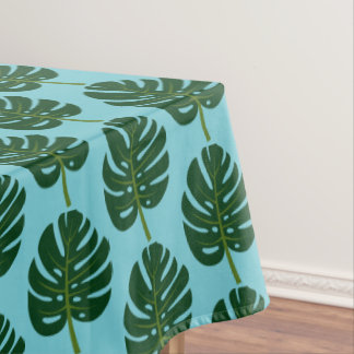 Tropical Monstera leaf floral pattern tablecloth