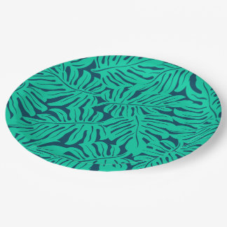 Tropical monstera leaf paper plate
