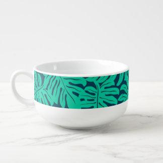 Tropical monstera leaf soup mug