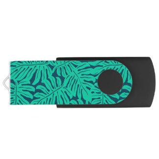 Tropical monstera leaf USB flash drive