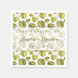 Tropical Monstera Leaves Pattern   Wedding Disposable Serviettes