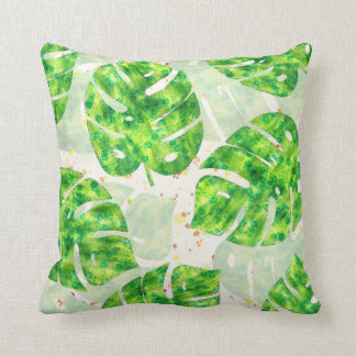 Tropical Monstera Leaves Unique Pattern Cushion
