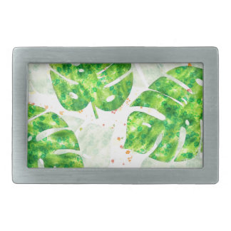 Tropical Monstera Leaves Unique Pattern Rectangular Belt Buckle