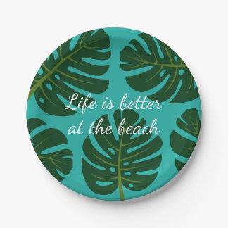 Tropical Monstera palm leaf floral paper plates