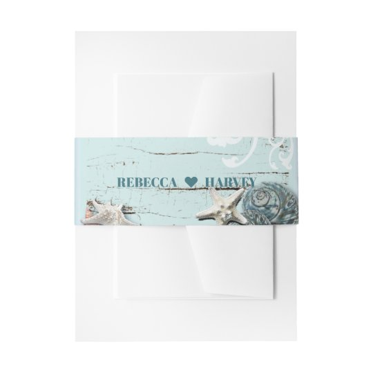 tropical nautical aqua blue seashell beach wedding invitation belly band