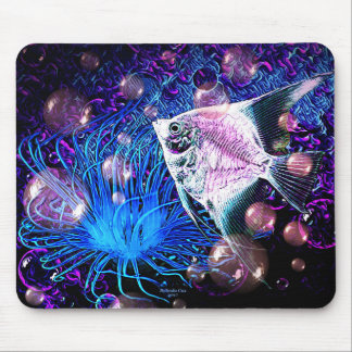 Tropical Ocean Angel fish with sea coral mouse pad