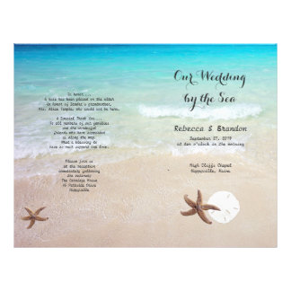 Tropical Ocean Beach Folded Wedding Program Flyer