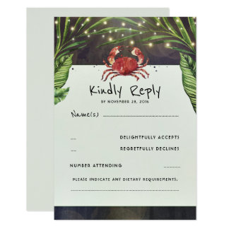 Tropical Ocean Crab Wedding RSVP Card
