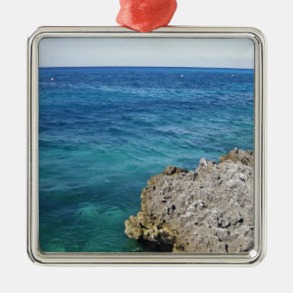 Tropical Ocean Silver-Colored Square Decoration