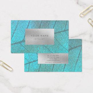 Tropical Ocean Silver Gray White Foil Botanical Business Card