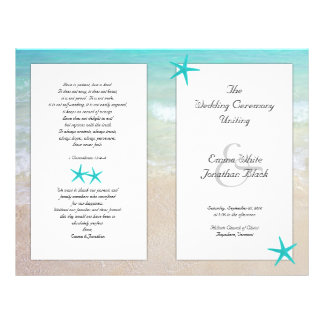 "Tropical Ocean Starfish Christian Ceremony Program 8.5"" X 11"" Flyer"