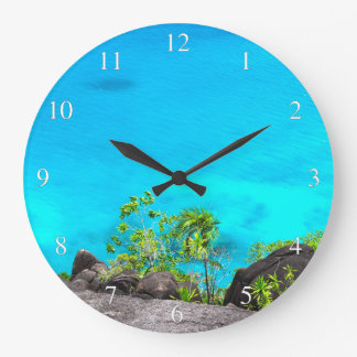 Tropical Ocean View Small Numbers Wall Clocks