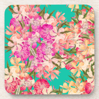 Tropical Oleander Floral Flowers Cork Coaster