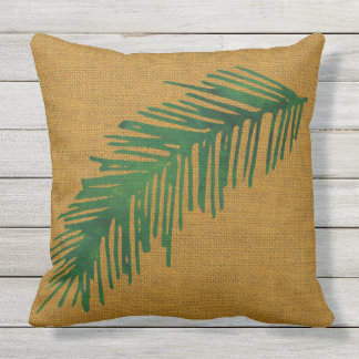Tropical on Burlap background Cushion