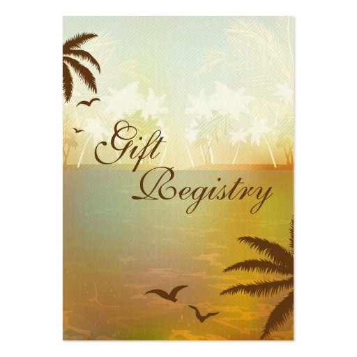 Tropical Orange Beach Gift Registry Cards Business Card Templates
