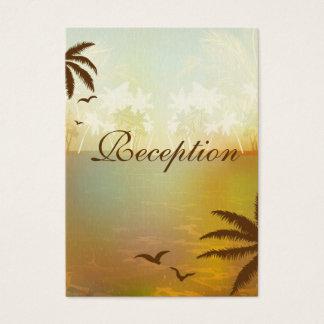 Tropical Orange Beach Wedding Reception Cards