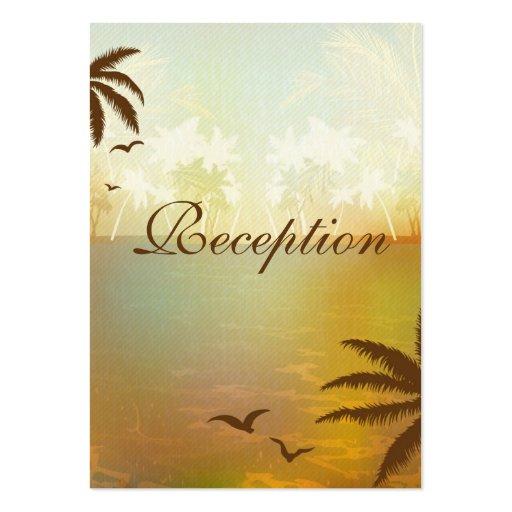 Tropical Orange Beach Wedding Reception Cards Business Card