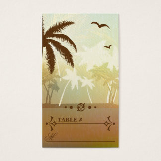 Tropical Orange Beach Wedding Reception Place card