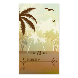 Tropical Orange Beach Wedding Reception Place card Pack Of Standard Business Cards