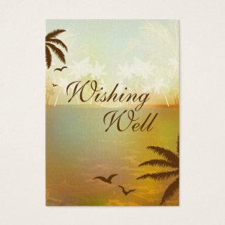 Tropical Orange Beach Wedding Wishing Well Cards