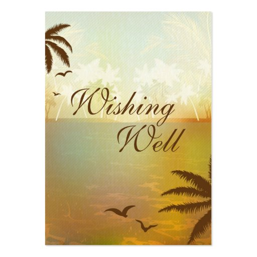 Tropical Orange Beach Wedding Wishing Well Cards Business Cards