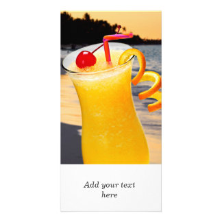 Tropical orange drink personalized photo card