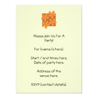 Tropical orange flowers on cream. 17 cm x 22 cm invitation card