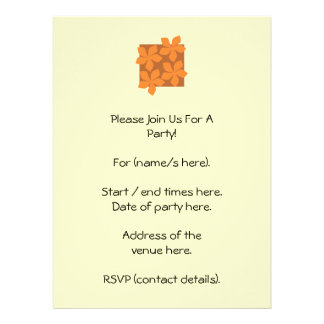 Tropical orange flowers on cream custom invitation