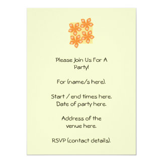 Tropical orange flowers on cream. Pretty. 17 Cm X 22 Cm Invitation Card