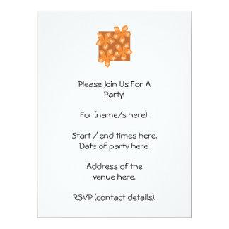 Tropical orange flowers on white. 17 cm x 22 cm invitation card