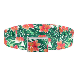 Tropical orange hibiscus belt
