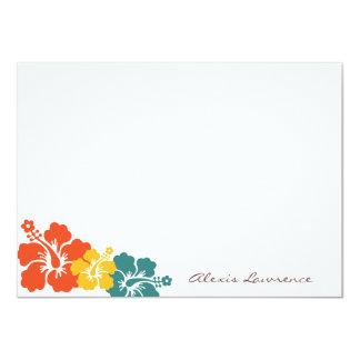 Tropical orange hibiscus flowers custom stationery 11 cm x 16 cm invitation card
