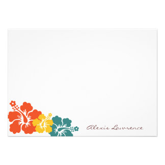 Tropical orange hibiscus flowers custom stationery announcement