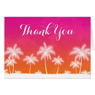 Tropical Orange Pink Thank You Card