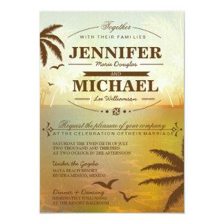 """Tropical Orange Scenic Beach Wedding Invitations 5"""" X 7"""" Invitation Card"""