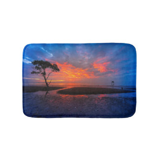 Tropical Orange Sunset Bath Mat