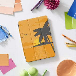 Tropical Orange Sunset & Palm Tree iPad Air Case