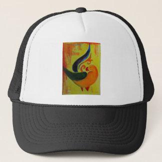 tropical orange trucker hat