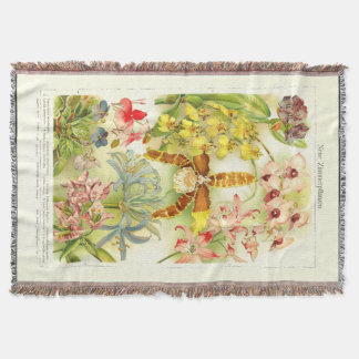 Tropical Orchid Flowers Collection Throw Blanket