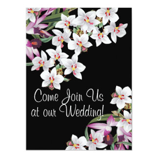 Tropical Orchid Flowers Floral Island Wedding 17 Cm X 22 Cm Invitation Card