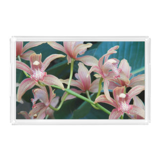 Tropical Orchids Floral Acrylic Tray