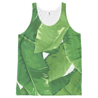 Tropical overlapping banana leaves All-Over print tank top