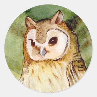 Tropical Owl Round Sticker